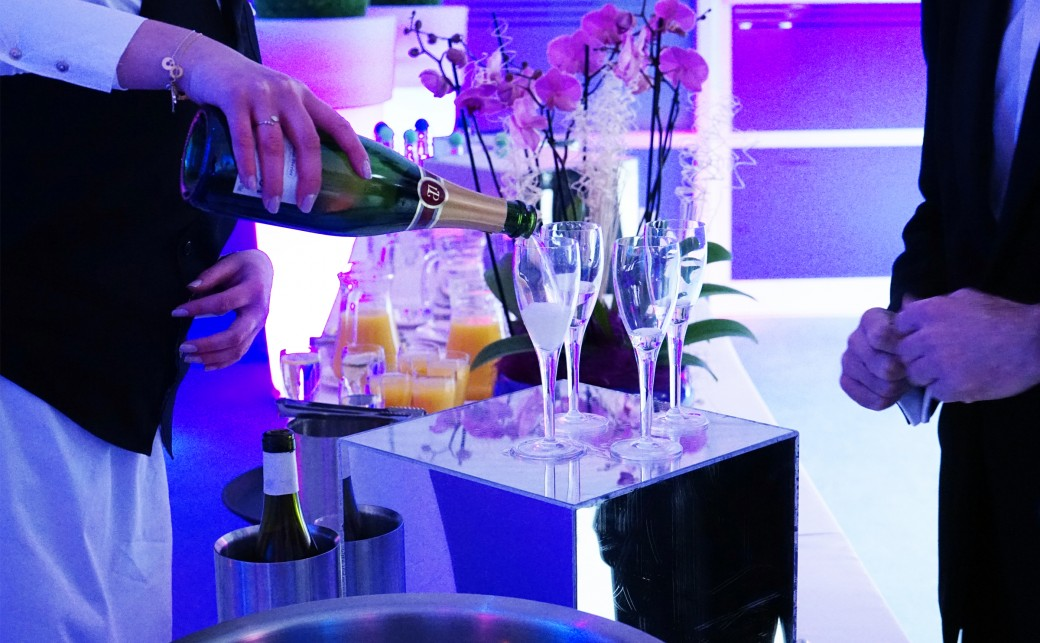 Champagne being poured at an event at The Ark Conference Centre