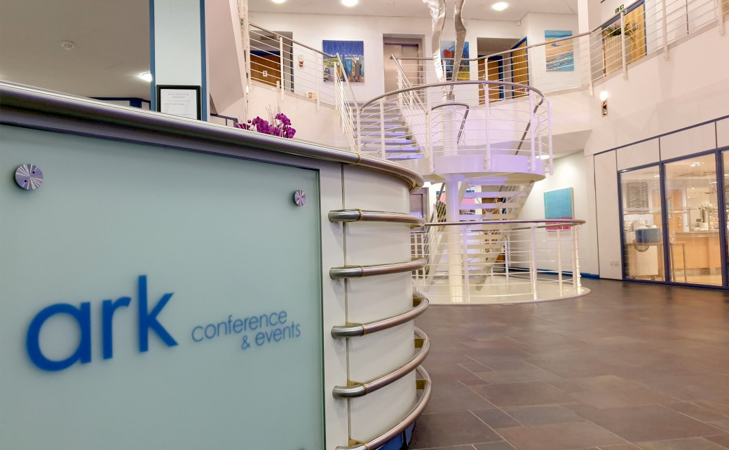 View of The Ark Logo on the reception desk at The Ark Conference Centre Basingstoke Hampshire