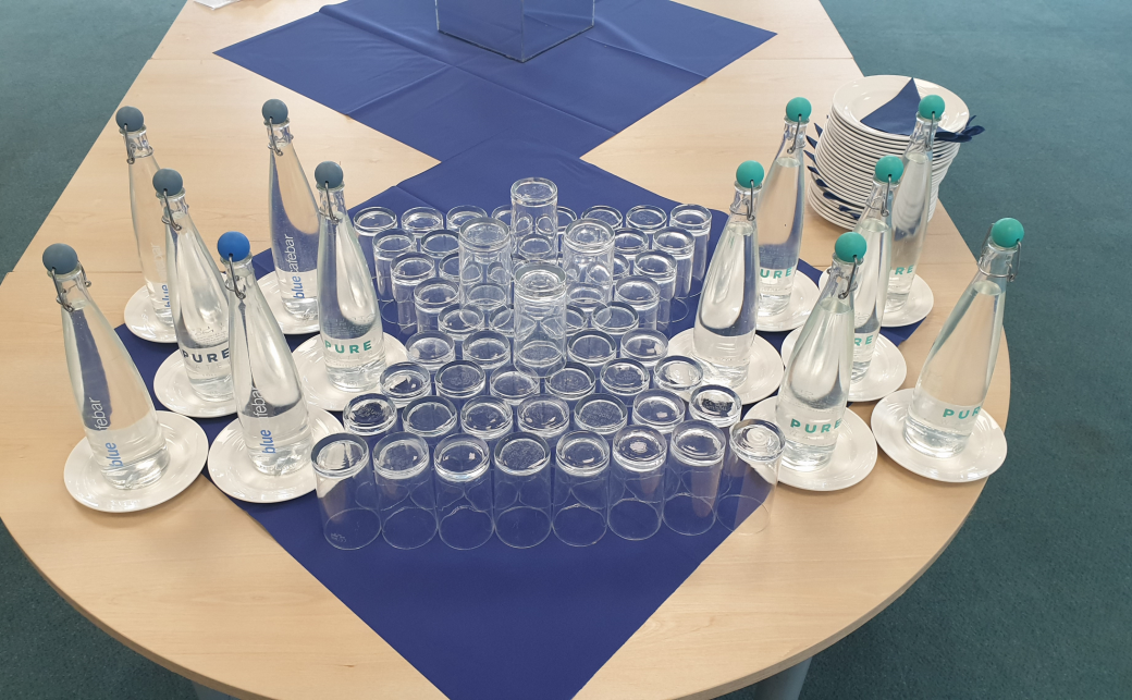 Glasses and Water Bottles at The Ark Conference Centre Basingstoke Hampshire