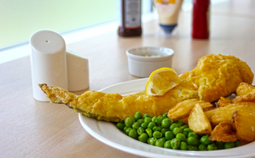 Fish and chips from our blue cafe bar at the ark basingstoke
