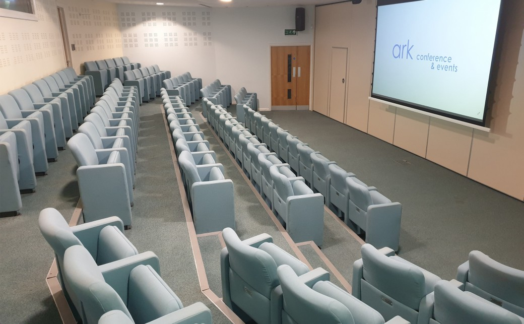 View of Upper Squire with its theatre seating and widescreen projector at The Ark Conference Centre in Basingstoke Hampshire
