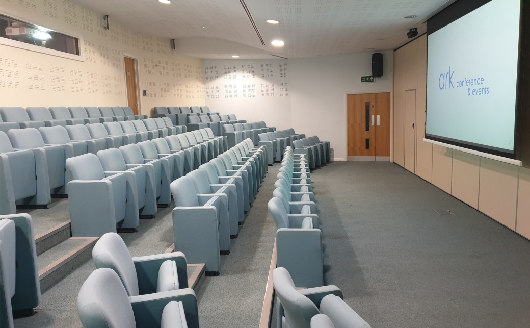 View of Upper Squire with it's theatre seating and widescreen projector at The Ark Conference Centre in Basingstoke Hampshire
